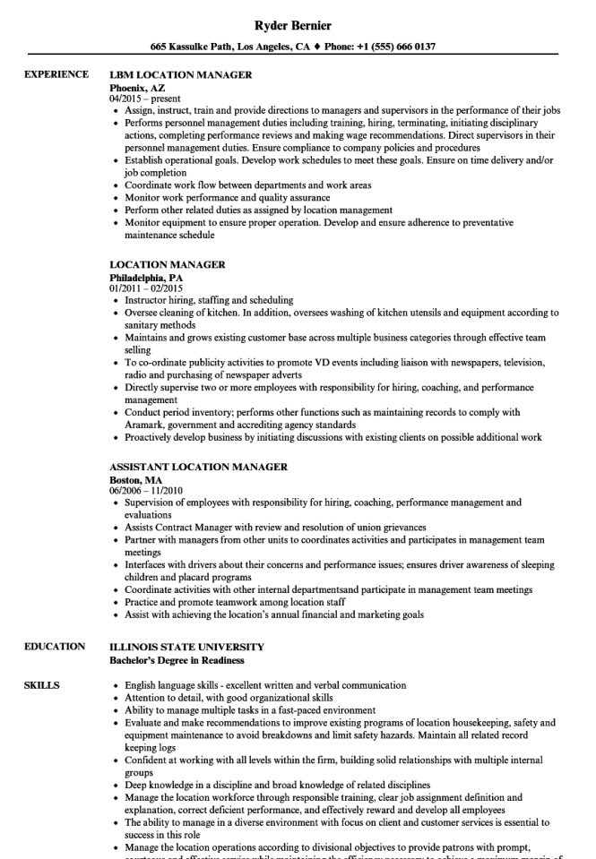 Location Manager Resume Samples