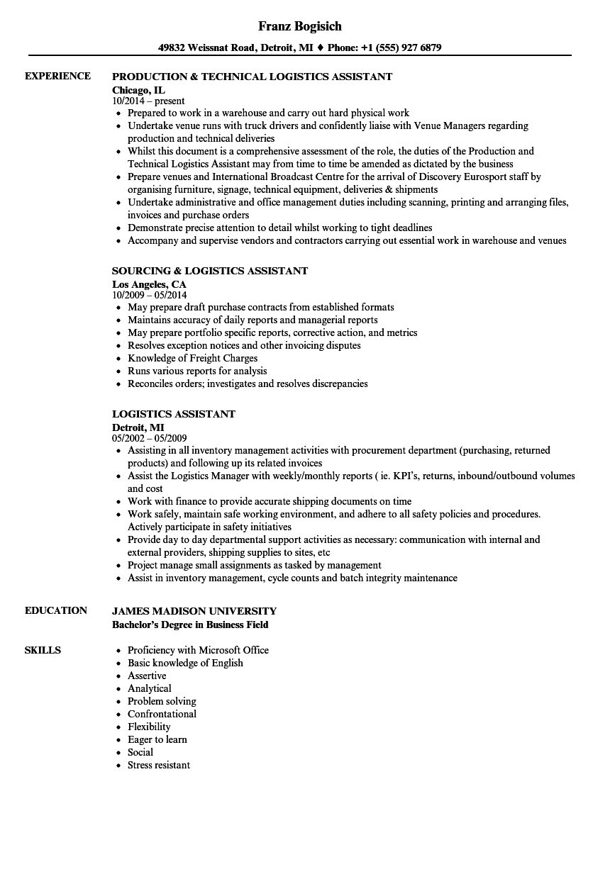 Logistics Assistant Resume Samples Velvet Jobs