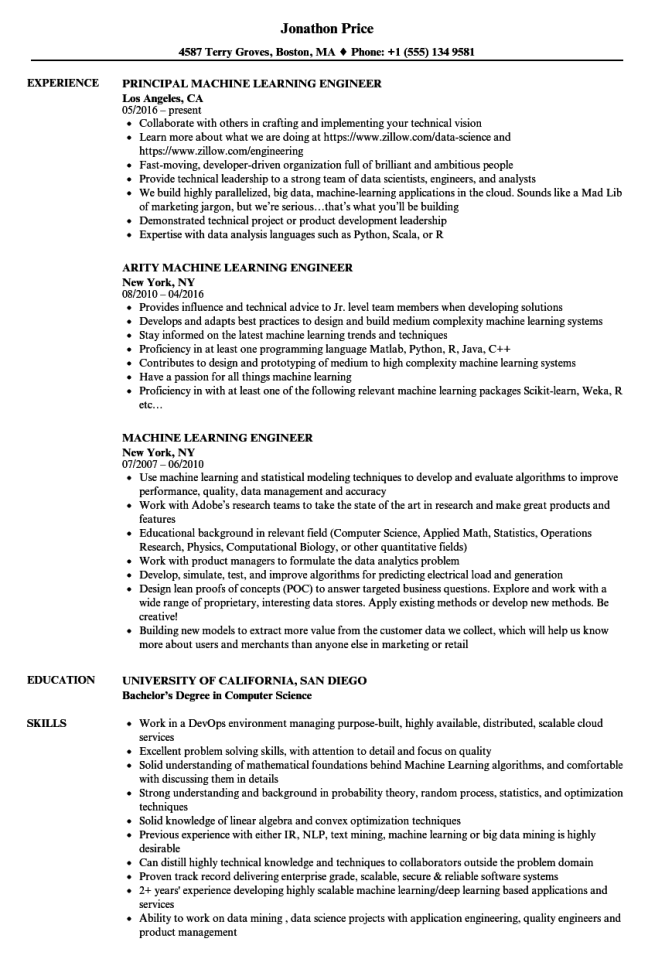 Resume Machine Resume Sample