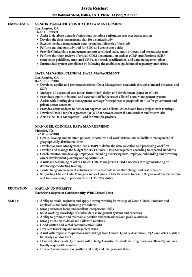 Clinical Data Management Resume Sample Choice Image - resume format ...