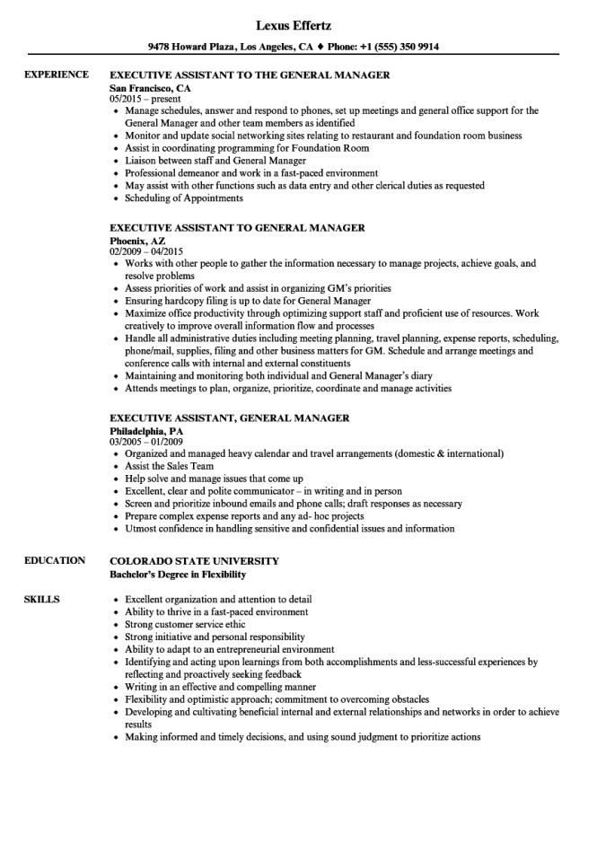 Executive Istant Resume Samples