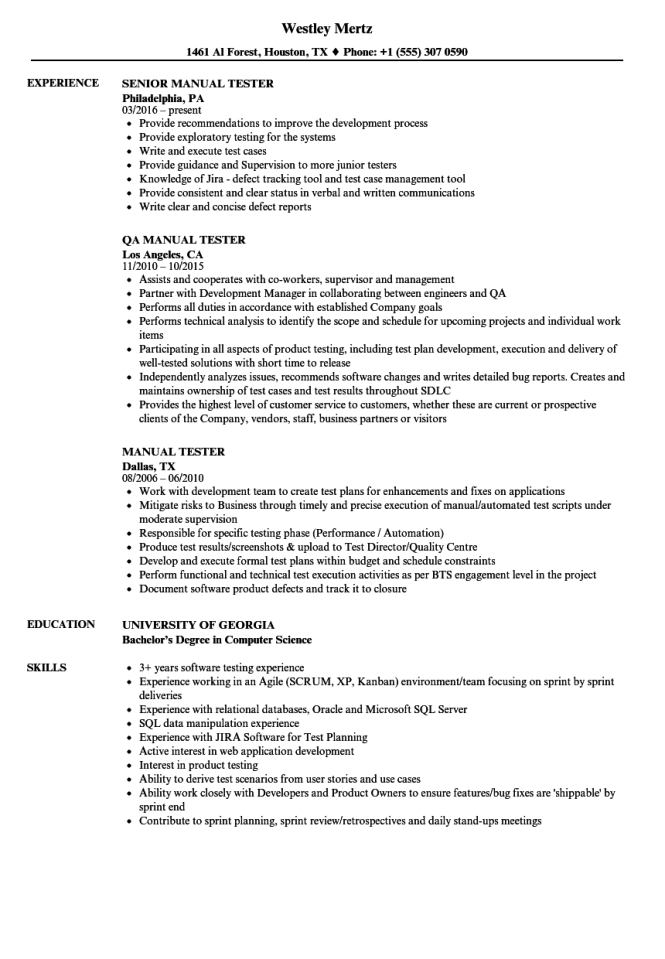 Manual Tester Resume Samples Velvet Jobs