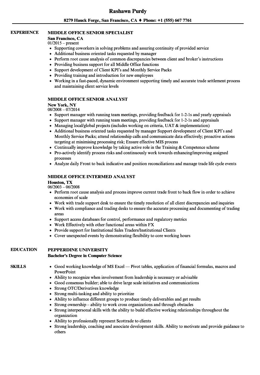 Middle Office Resume Samples Velvet Jobs