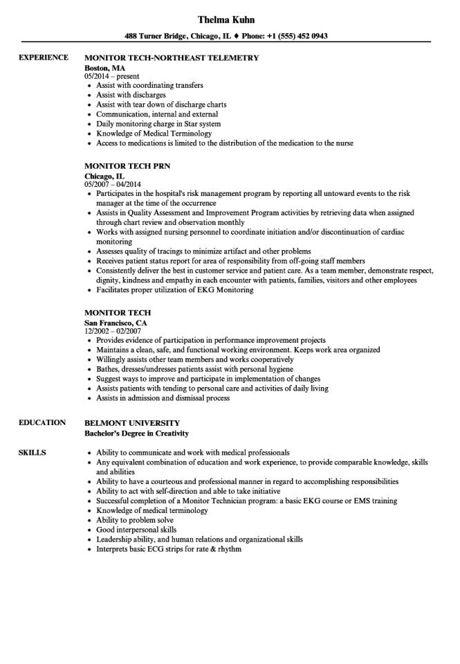 Monitor Tech Resume Samples Velvet Jobs