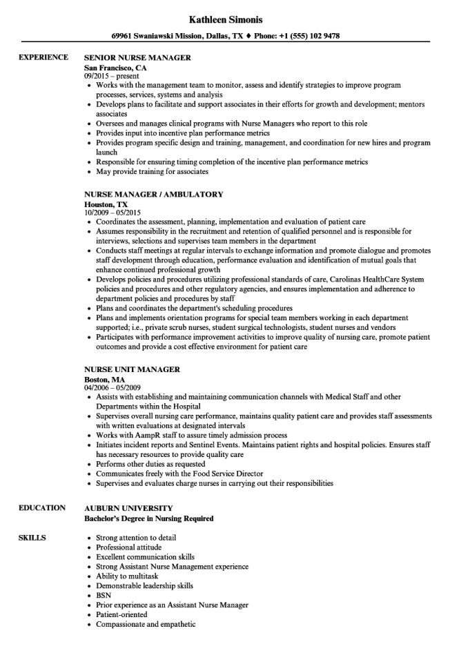director of nursing resume