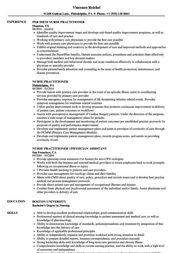 sample nurse practitioner resume