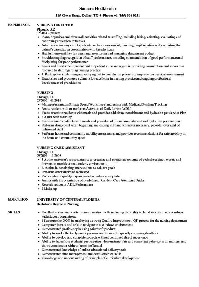 director of nursing resume