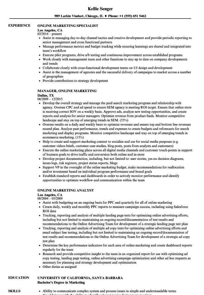 Marketing Resume Sample  Resume Genius