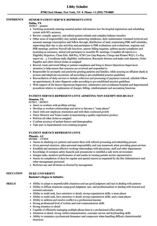 Patient Registration Resume Resume Sample