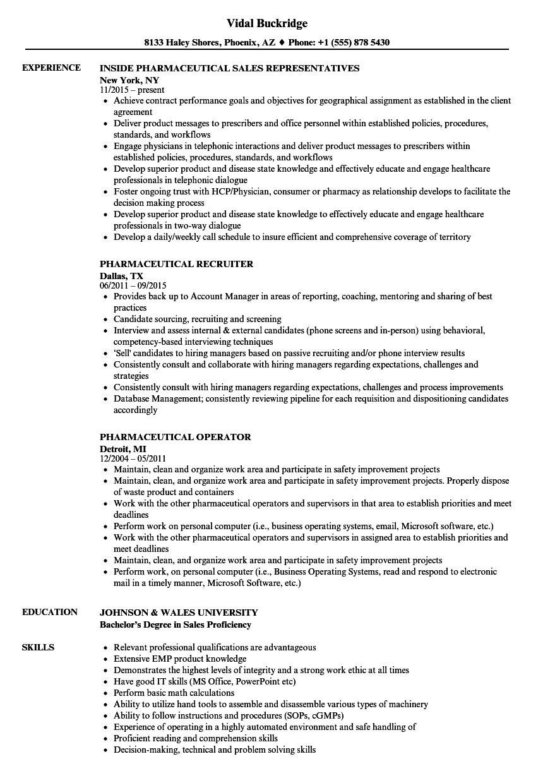 Pharmaceutical Resume Samples Velvet Jobs