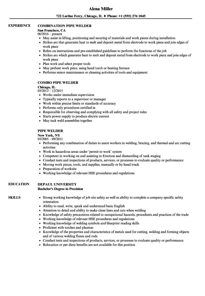 welding resume