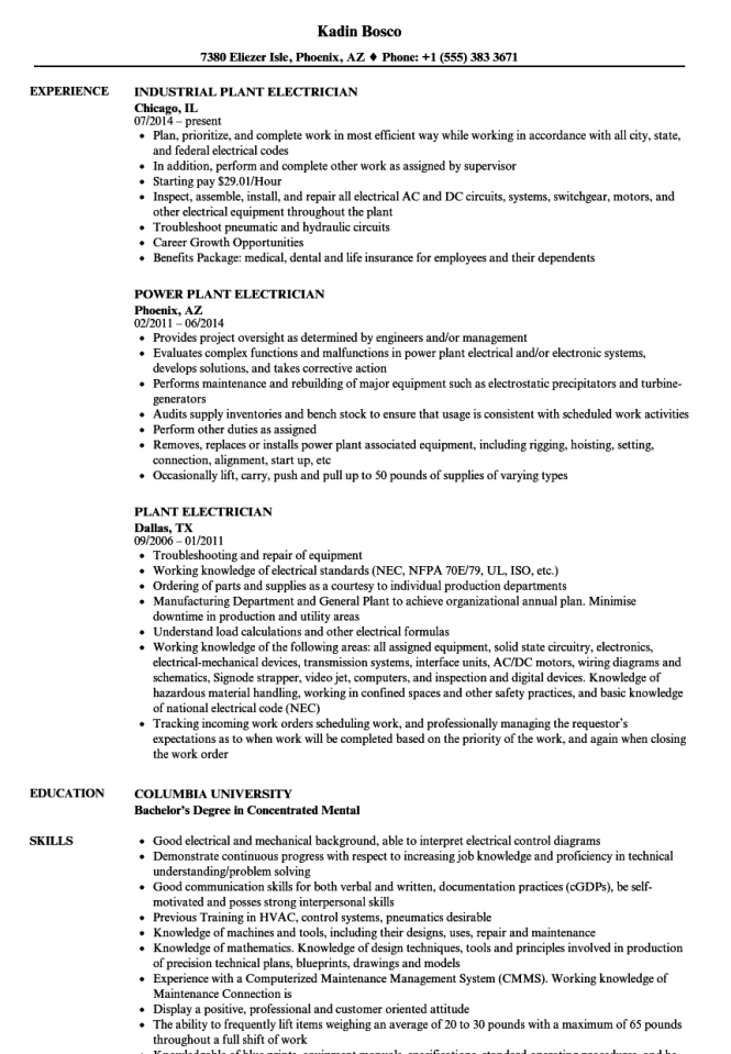 industrial electrician resume
