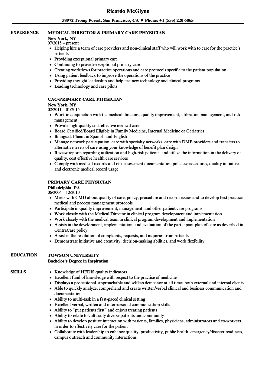 Emergency medical technician (emt) resume template (text format) summary. Primary Care Physician Resume Samples Velvet Jobs