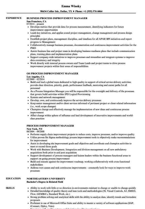 Process Improvement Resume - Resume Ideas