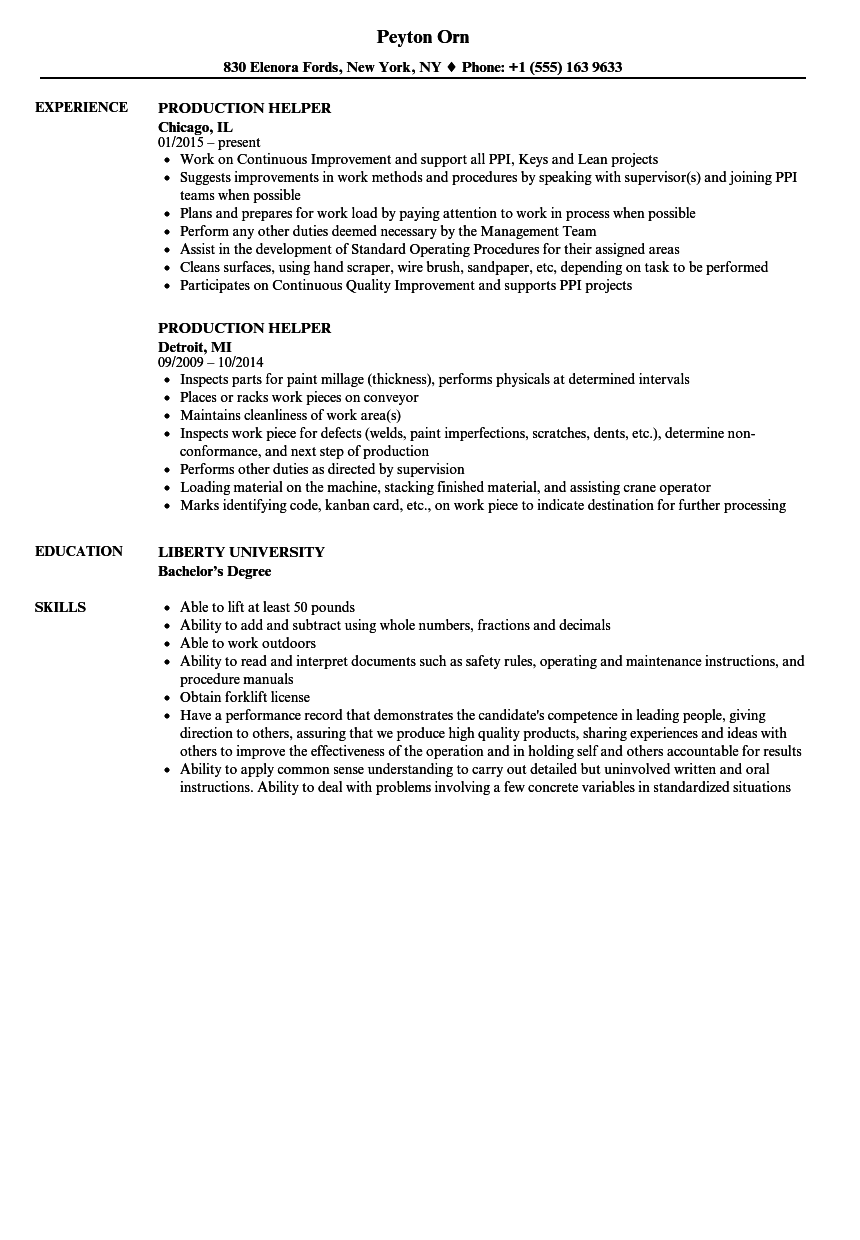 Manufacturing Production Scheduler Resume