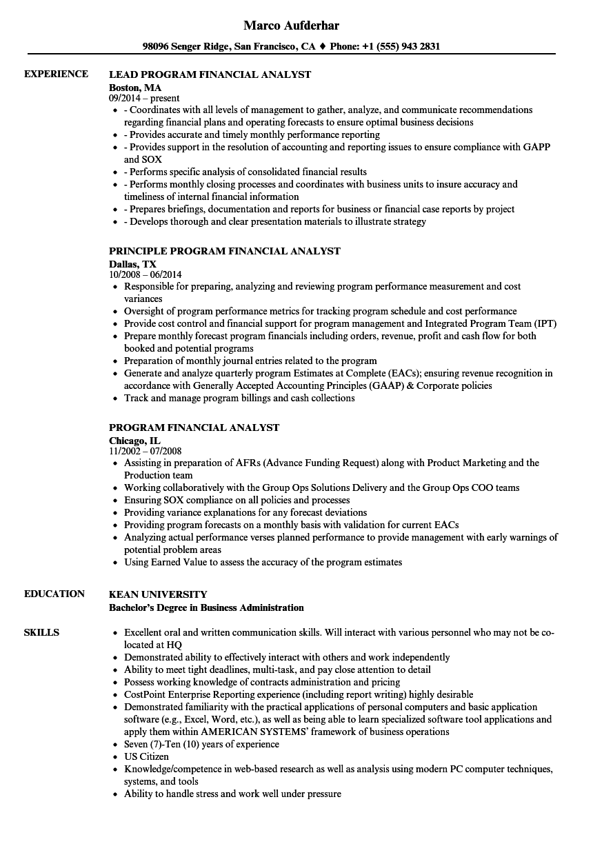 Seeking the position of a financial analyst with jack and jill investment. Program Financial Analyst Resume Samples Velvet Jobs