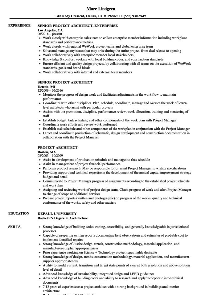 Sample Architect Resume - Resume Sample