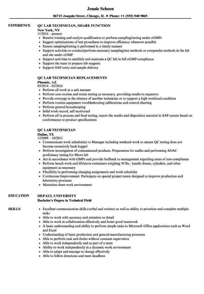 Resume For Lab Technician Resume Sample