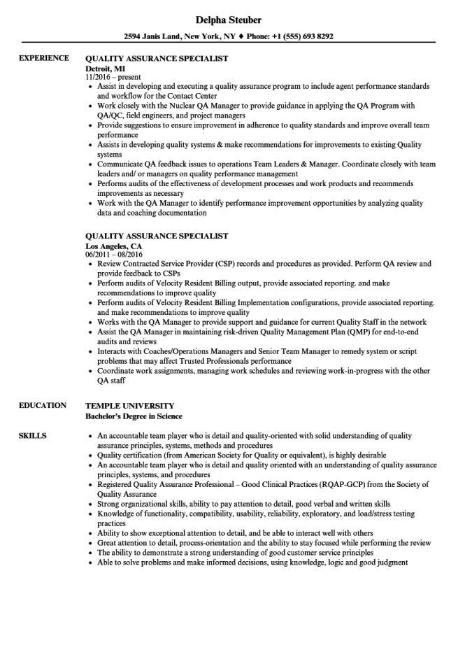 Software Quality Assurance Resume