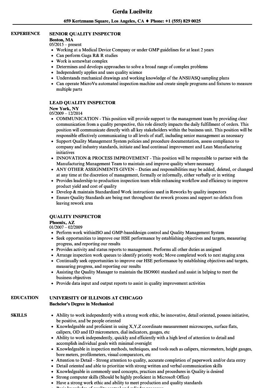 Quality Control Inspector Resume Objective WY45B. Quality Control ...