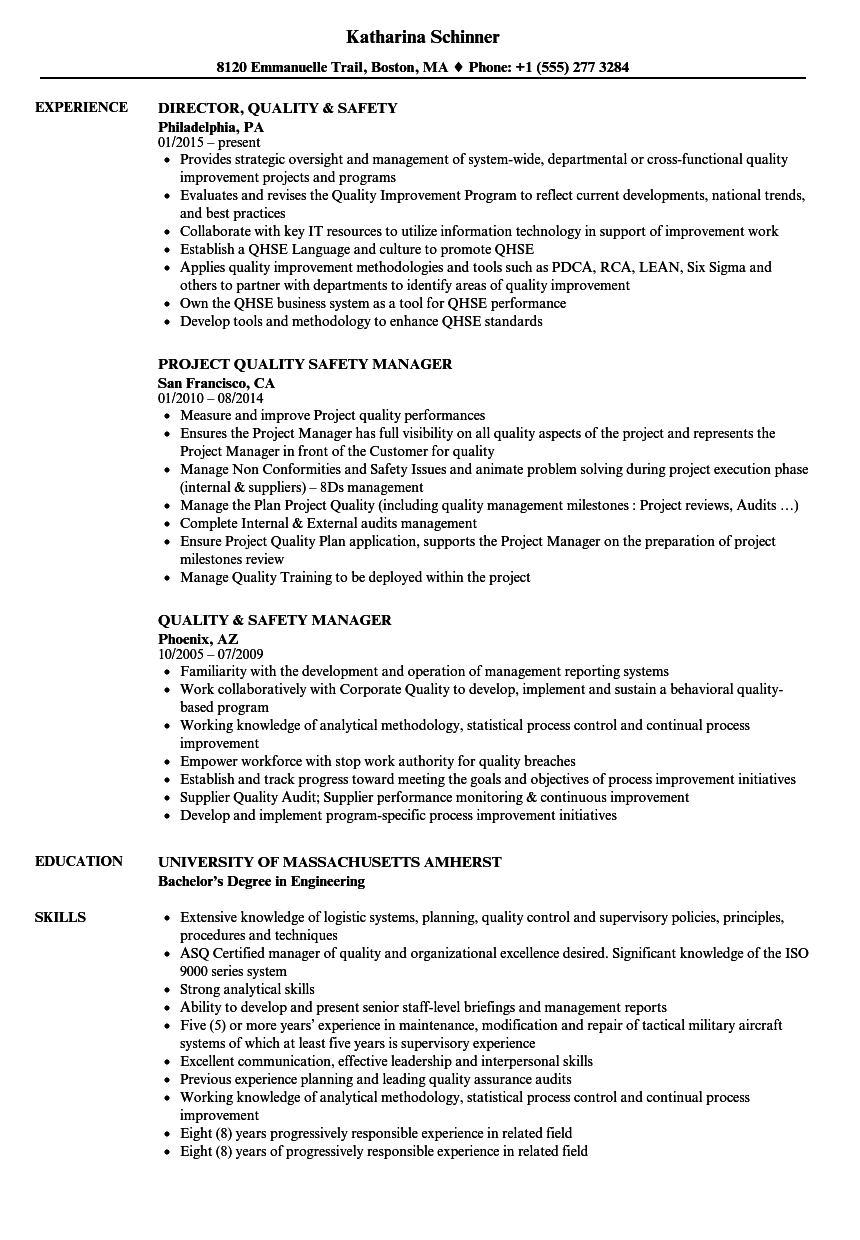 Quality Safety Resume Samples Velvet Jobs