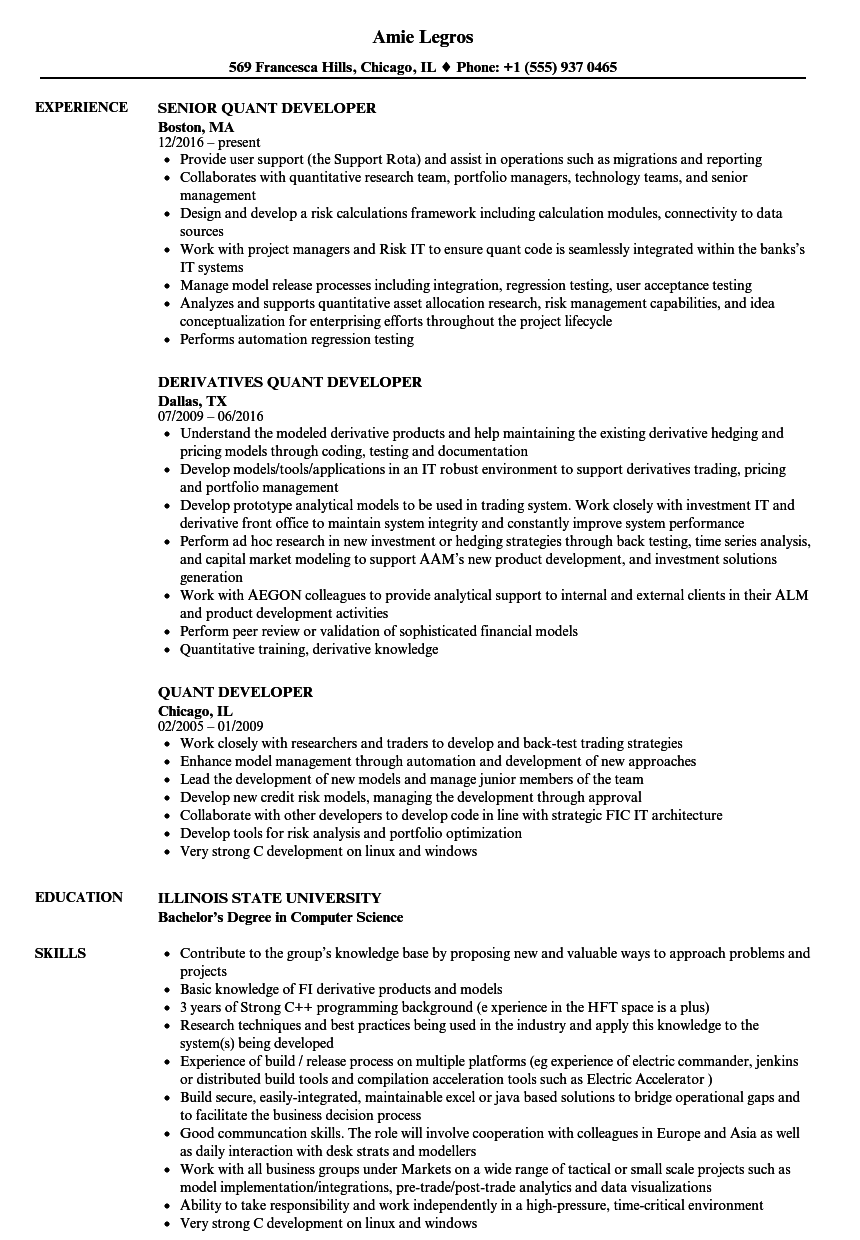 Quant Developer Resume Samples Velvet Jobs