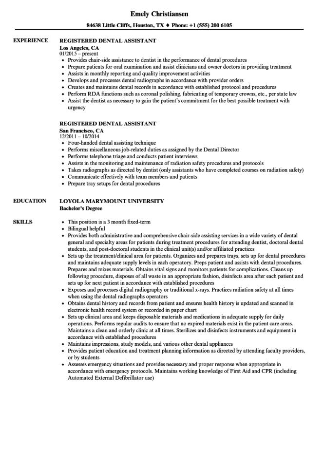 Registered Dental Istant Resume