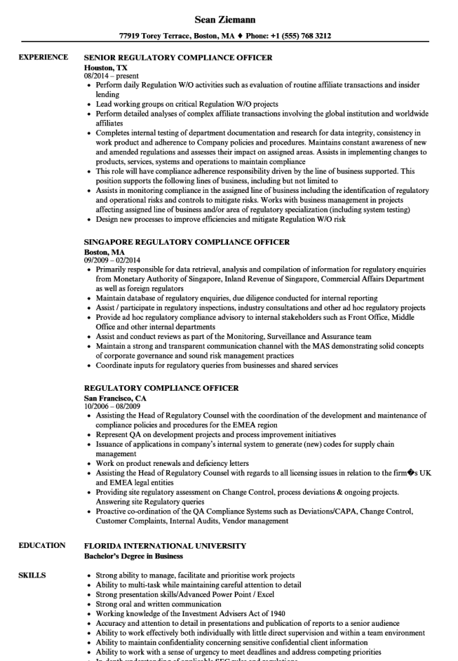 regulatory compliance officer resume samples velvet jobs - Regulatory Compliance Officer Sample Resume