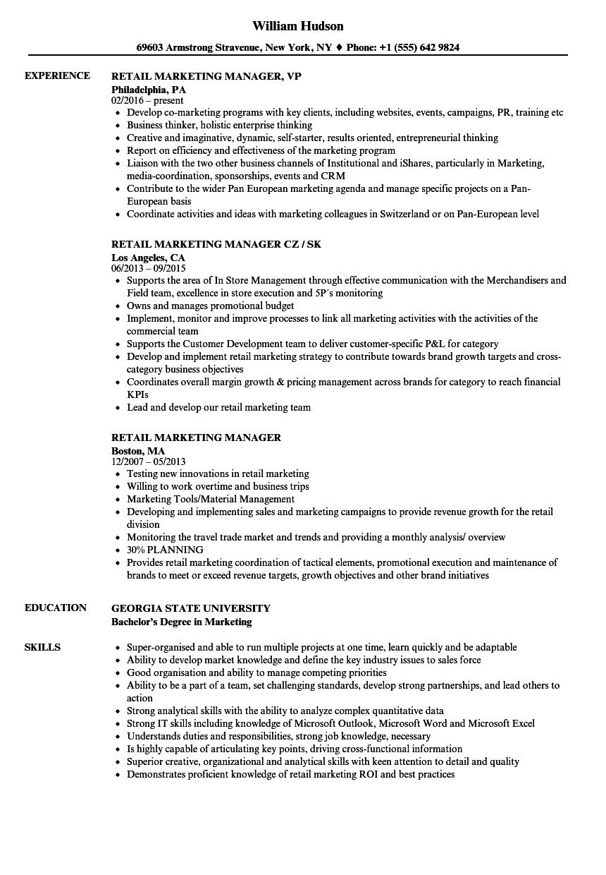 Retail Marketing Manager Resume Samples Velvet Jobs