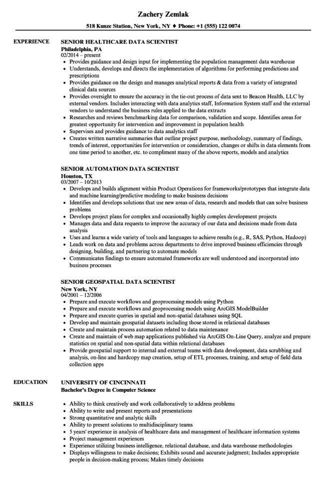 senior data scientist resume samples velvet jobs - Data Scientist Resume Sample
