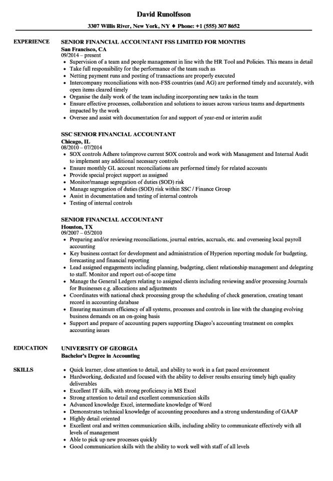 Senior Financial Accountant Resume