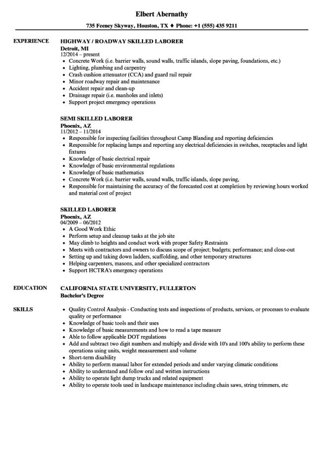 Laborer Resume - Resume Sample