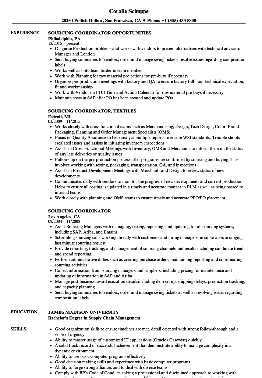 Sourcing Coordinator Resume Samples Velvet Jobs