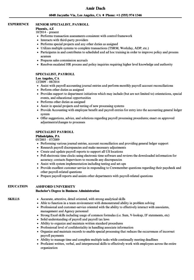 payroll resume resume sample