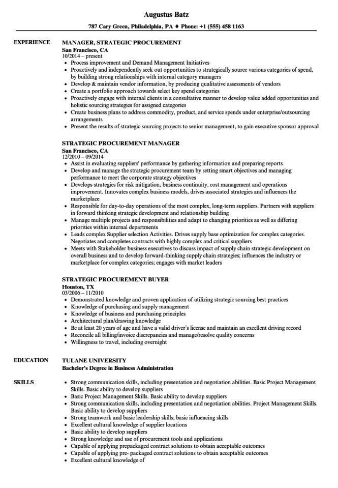 strategic sourcing resume