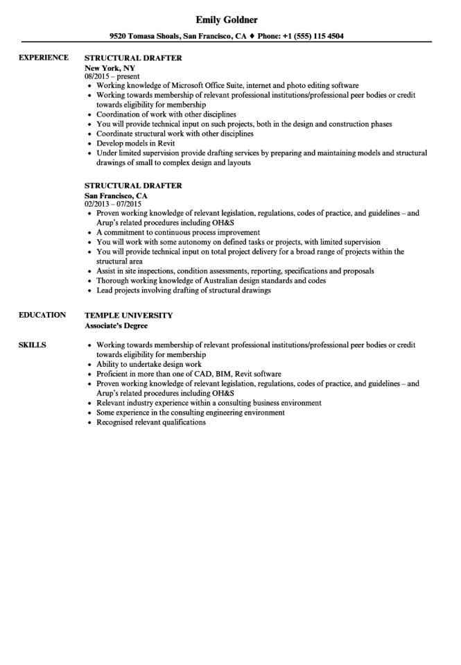 structural draftsman resume