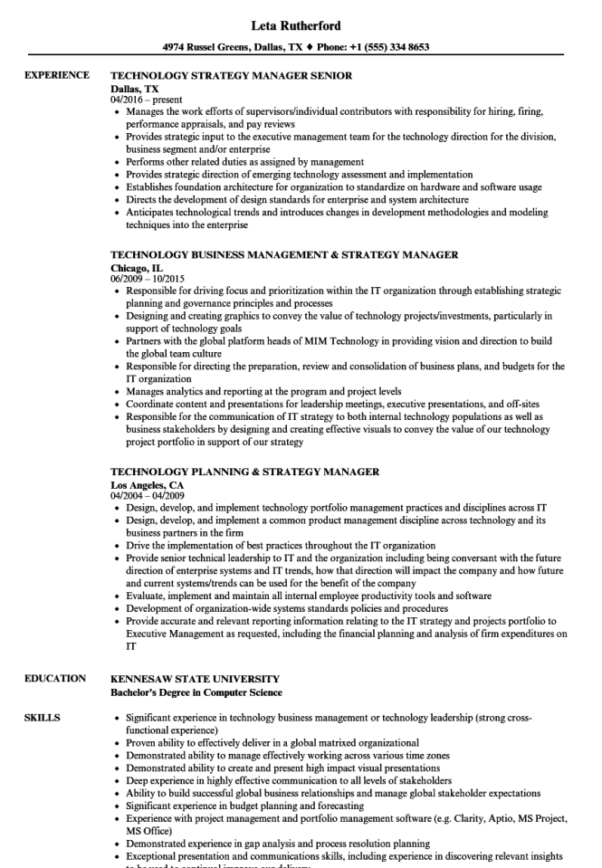 Strategy Manager Resume Samples