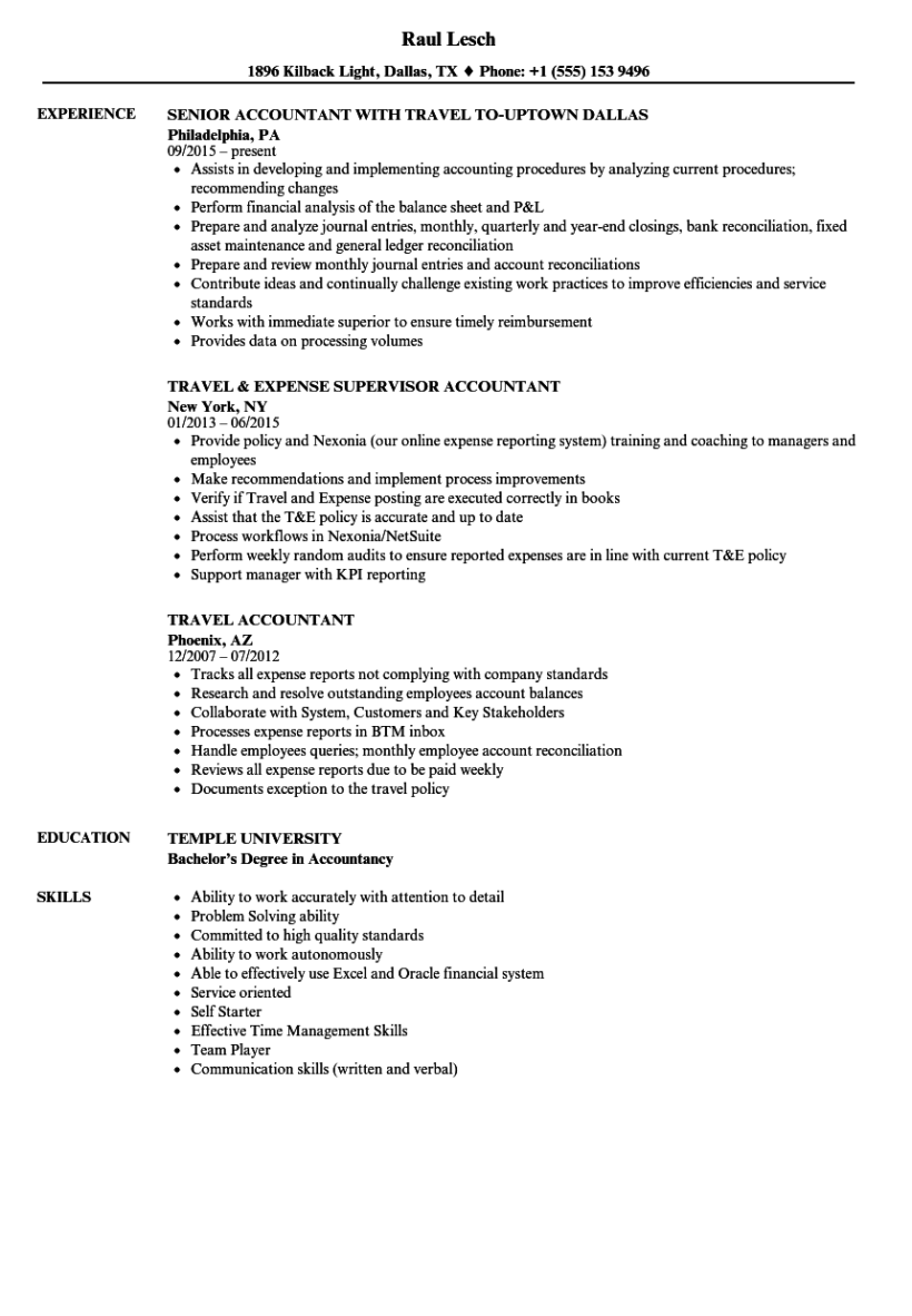 Resume Work And Travel Sample