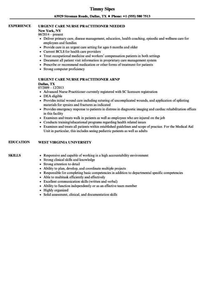urgent-care-nurse-pracioner-resume-sample Sample Curriculum Vitae Nurse Pracioner Student on anesthetist student, resume templates for, cv psychiatric,