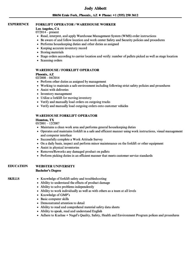 Forklift Driver Resume Examples  Resume Sample