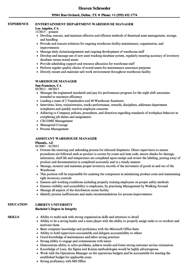 Sample Warehouse Manager Resume - Resume Sample