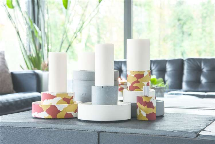 Modular, stackable concrete holders and natural wax pillar candles, all hand-poured in Suffolk, from a selection, concreteandwax.com (24027124)