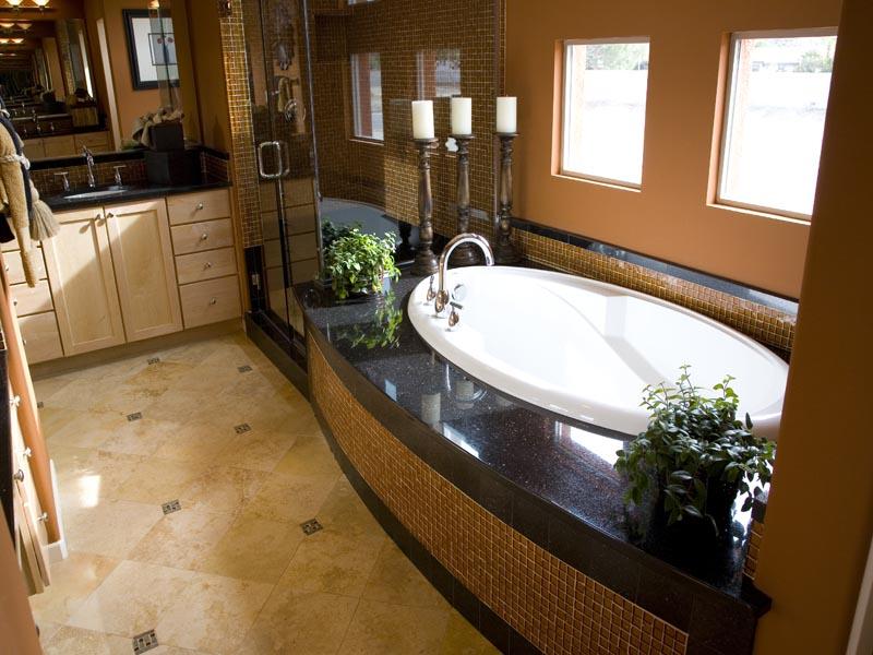 Granite used arond the bath