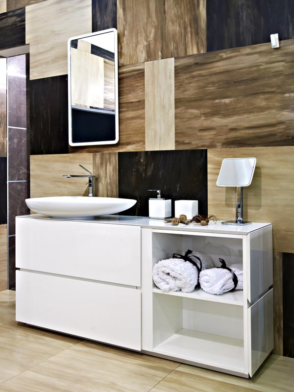 combination of cream, brown and dark brown tiles