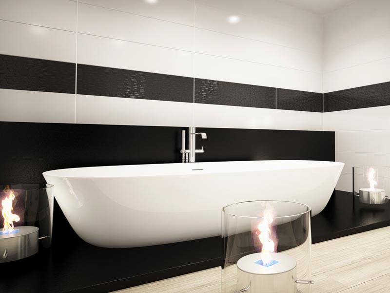 combination of white tiles and black stripes