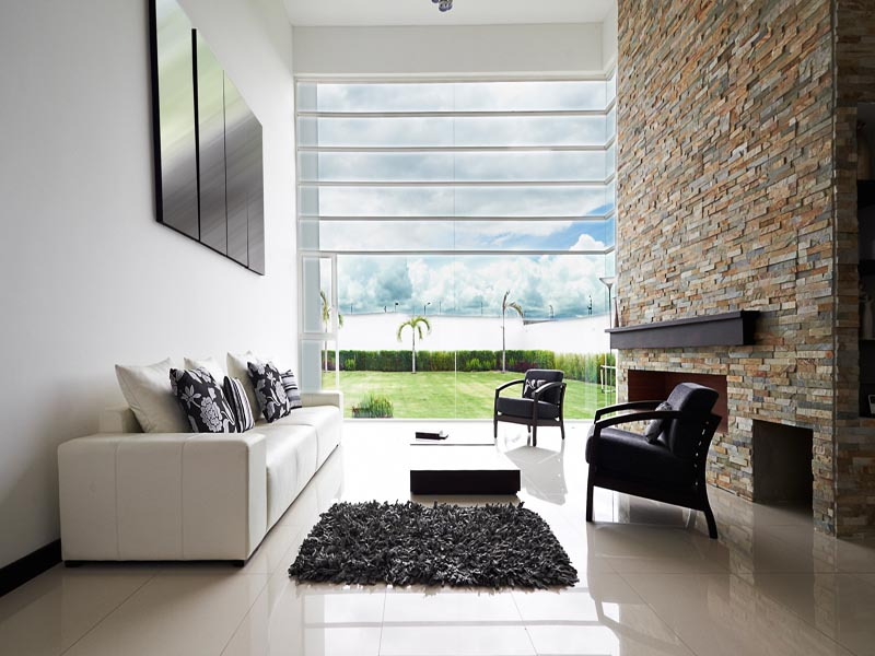 slate cladding indoor feature wall