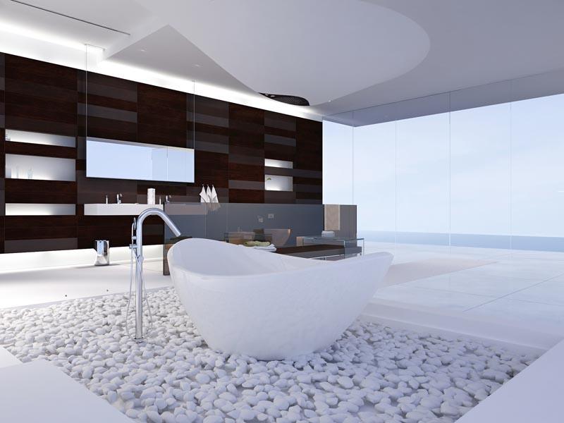 white tile for bathroom including white pebbles