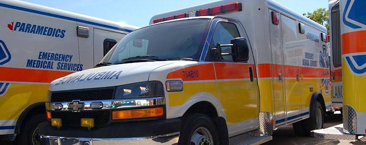 Image of line up of VEMA Ambulances