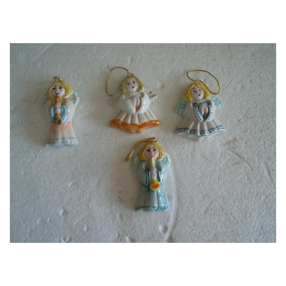 Scegli la consegna gratis per. 4 Angeli Angioletti In Ceramica Artigianali Natalizio