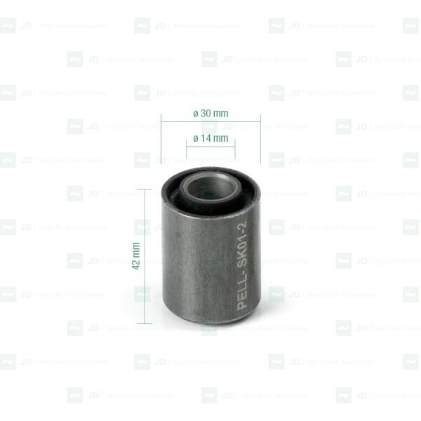 Silentblock adaptable a vendimiadoras Gregoire y Pellenc. Medidas:14 x 30 x 42 mm. Referencia: PELL-SK01-2